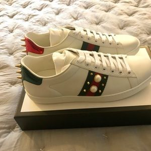 803319b76 Gucci Shoes | New Ace Leather Pearl Studded Sneakers | Poshmark